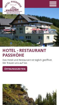 Vorschau der mobilen Webseite www.ibergeregg.ch, Hotel Passhöhe, Ibergeregg