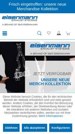 Vorschau der mobilen Webseite eisenmann-exhaust-systems.de, Eisenmann GmbH