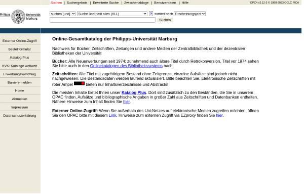 Vorschau von opac.ub.uni-marburg.de, OPAC Uni Marbung