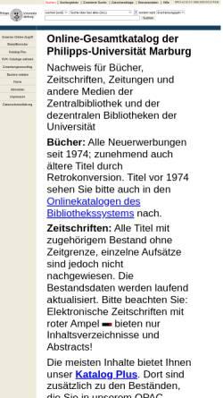 Vorschau der mobilen Webseite opac.ub.uni-marburg.de, OPAC Uni Marbung