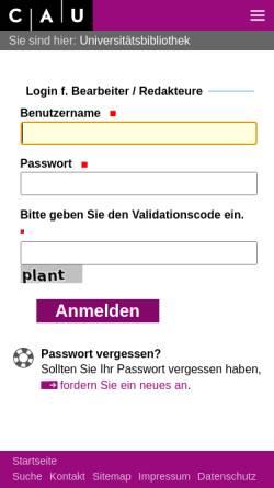 Vorschau der mobilen Webseite www.uni-kiel.de, Systematik: Theologie und Religionswissenschaft