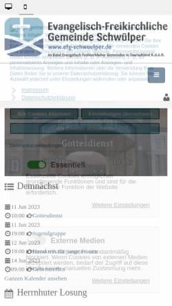 Vorschau der mobilen Webseite efg-schwuelper.de, Evangelisch-Freikirchliche Gemeinde Schwülper