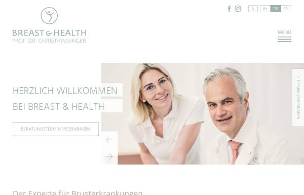 Vorschau von www.breastandhealth.com, Breast & Health - Univ.-Prof. Dr. Christian Singer