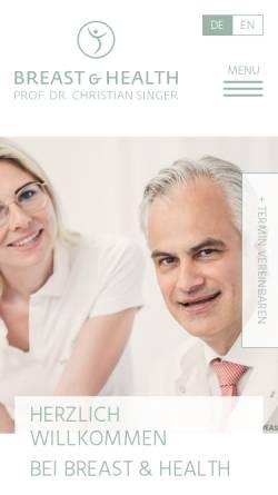 Vorschau der mobilen Webseite www.breastandhealth.com, Breast & Health - Univ.-Prof. Dr. Christian Singer