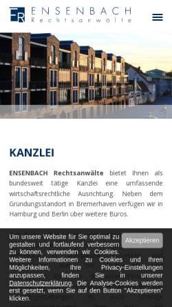 Vorschau der mobilen Webseite ensenbach.de, Ensenbach Rechtsanwälte