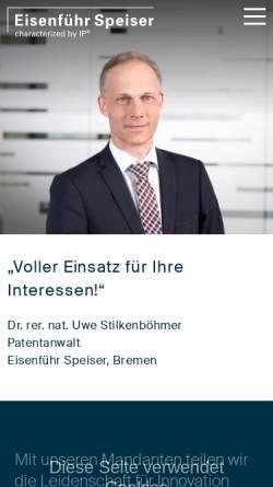 Vorschau der mobilen Webseite www.eisenfuhr.com, Eisenführ, Speiser & Partner