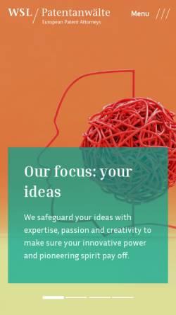 Vorschau der mobilen Webseite www.wsl-patent.de, Weber, Seiffert, Lieke