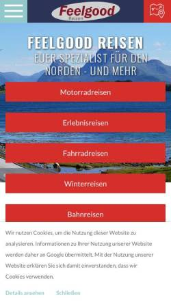 Vorschau der mobilen Webseite www.feelgoodreisen.de, Feelgood Reisen