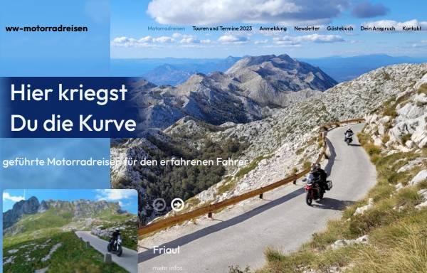 Vorschau von www.ww-motorradreisen.de, ww-motorradreisen - Hier kriegst du die Kurve