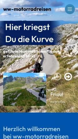 Vorschau der mobilen Webseite www.ww-motorradreisen.de, ww-motorradreisen - Hier kriegst du die Kurve