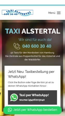 Vorschau der mobilen Webseite www.taxialstertal.de, Taxi Alstertal