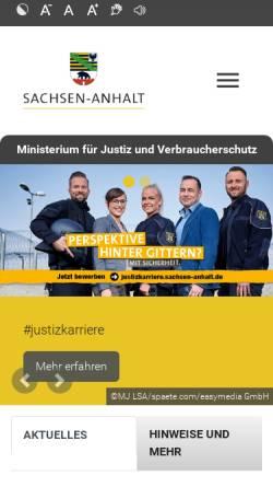 Vorschau der mobilen Webseite www.mj.sachsen-anhalt.de, Ministerium der Justiz des Landes Sachsen-Anhalt