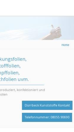Vorschau der mobilen Webseite www.duerrbeck.com, Gebr. Dürrbeck Kunststoffe GmbH