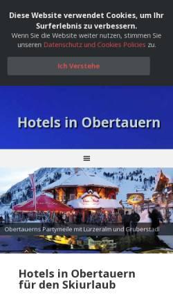 Vorschau der mobilen Webseite www.obertauern-hotel.de, Gruber Hotels und Aprés-Ski-Angebote