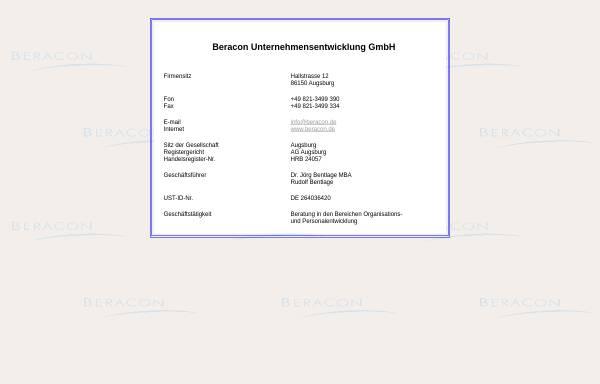 Vorschau von www.beracon.de, Beracon Unternehmensentwicklung