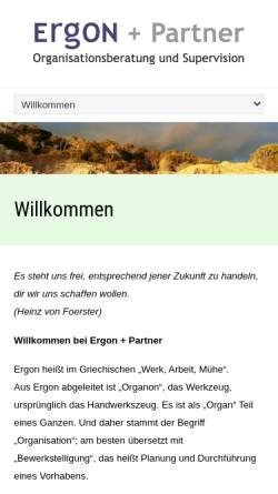 Vorschau der mobilen Webseite www.ergon-partner.de, Ergon + Partner Organisationsberatung und Supervision
