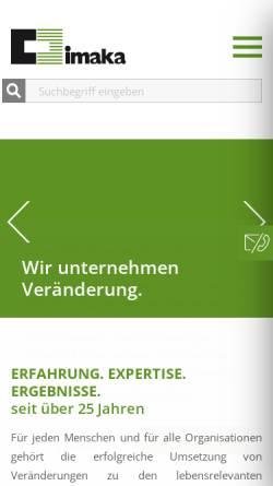 Vorschau der mobilen Webseite www.imaka.de, Imaka, Institut für Management GmbH