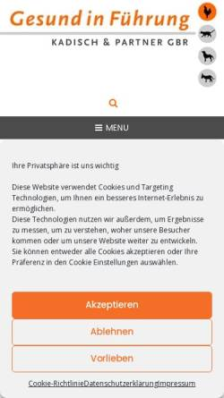 Vorschau der mobilen Webseite www.kadisch-und-partner.de, Kadisch und Partner - Coaching und Organisationsberatung