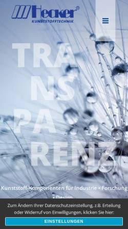 Vorschau der mobilen Webseite www.plexiglas-hecker.de, Hecker Kunststoffverarbeitung