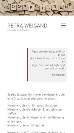 Vorschau der mobilen Webseite www.petraweigand.de, Petra Weigand - moderieren, entwickeln, beraten