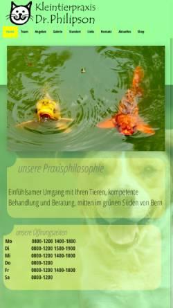 Vorschau der mobilen Webseite www.dr-philipson.ch, Kleintierpraxis Dr. Philipson, Bern