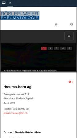 Vorschau der mobilen Webseite www.rheuma-bern.ch, Rheumatologische Praxis von Dr. med Daniela Roesler, Bern