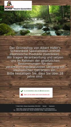 Vorschau der mobilen Webseite www.albert-hofer.de, Albert Hofer`s Bauern Spezialitäten