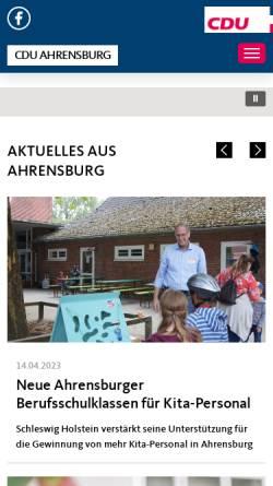 Vorschau der mobilen Webseite www.cdu-ahrensburg.de, CDU-Stadtverband Ahrensburg