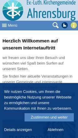 Vorschau der mobilen Webseite www.kirche-ahrensburg.com, Evangelisch-Lutherishe Kirchengemeinde in Ahrensburg