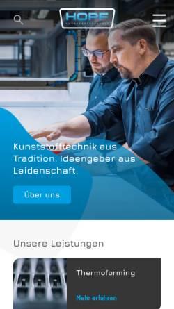 Vorschau der mobilen Webseite www.hopf-kt.de, Hopf Kunststofftechnik GmbH
