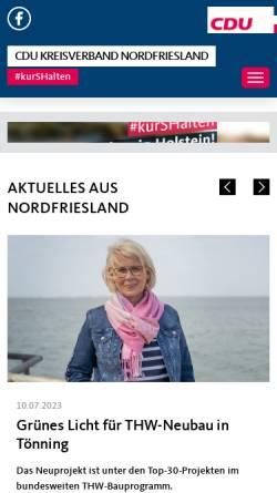 Vorschau der mobilen Webseite www.cdu-nf.de, CDU Husum