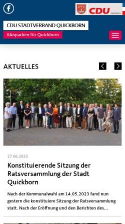 Vorschau der mobilen Webseite www.cdu-quickborn.de, CDU Quickborn