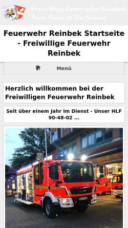 Vorschau der mobilen Webseite www.ff-reinbek.de, Feuerwehr Reinbek