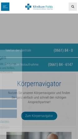 Vorschau der mobilen Webseite www.klinikum-fulda.de, Klinikum Fulda
