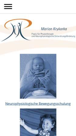 Vorschau der mobilen Webseite www.praxis-krykorka.de, Marion Krykorka - Praxis für Physiotherapie und Neurophysiologische Entwicklungsförderung