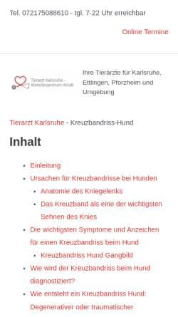 Vorschau der mobilen Webseite www.tierklinik-wiesbaden.de, Tierklinik Wiesbaden