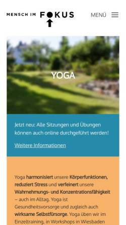 Vorschau der mobilen Webseite www.yoga-praxis-wiesbaden.de, Yoga-Kurse und Yoga Einzelunterricht in Wiesbaden