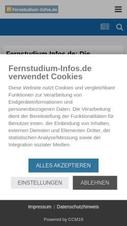 Vorschau der mobilen Webseite www.fernstudium-infos.de, Fernstudium-Infos.de