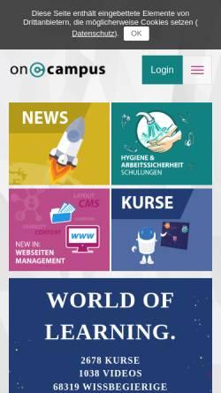 Vorschau der mobilen Webseite www.oncampus.de, Oncampus - Virtuelle Fachhochschule