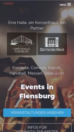 Vorschau der mobilen Webseite www.flens-arena.de, Campushalle Flensburg
