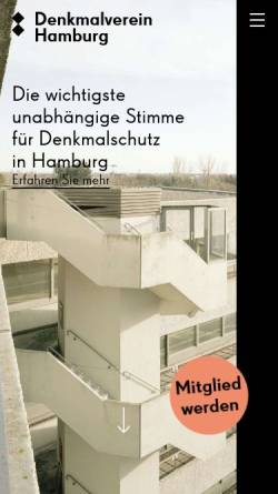 Vorschau der mobilen Webseite www.denkmalverein.de, Denkmalverein Hamburg