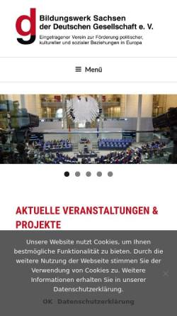 Vorschau der mobilen Webseite www.dg-bildungswerksachsen.org, Bildungswerk Sachsen der Deutschen Gesellschaft