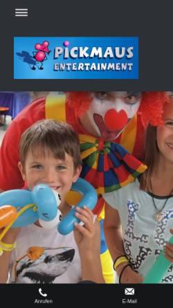 Vorschau der mobilen Webseite www.pickmaus-kinderschminken.de, Pickmaus Kinderschminken, Petra Pickan