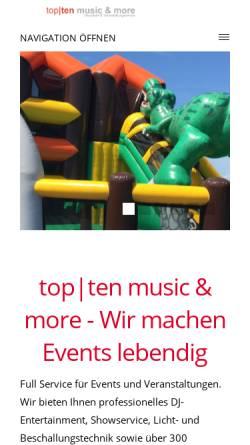 Vorschau der mobilen Webseite www.topten-disco.de, Top-Ten, Daniel Klöpper
