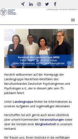 Vorschau der mobilen Webseite www.bdp-nrw.de, Berufsverband Deutscher Psychologinnen und Psychologen e.V., Landesgruppe NRW