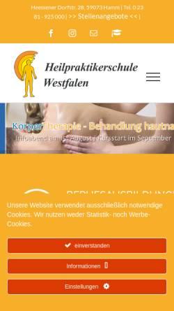 Vorschau der mobilen Webseite www.heilpraktikerschule-westfalen.de, Heilpraktikerschule Westfalen