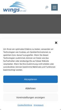 Vorschau der mobilen Webseite www.wingsoflinz.at, Wings of Linz