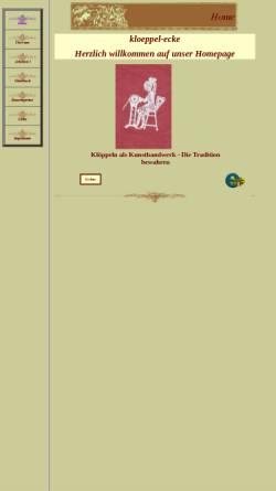 Vorschau der mobilen Webseite www.kloeppel-ecke.de, Klöppel-Ecke