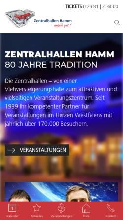 Vorschau der mobilen Webseite www.zentralhallen.de, Zentralhallen Hamm