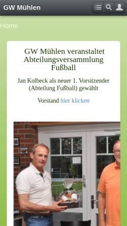 Vorschau der mobilen Webseite www.gw-muehlen.de, Sportverein Grün-Weiß Mühlen